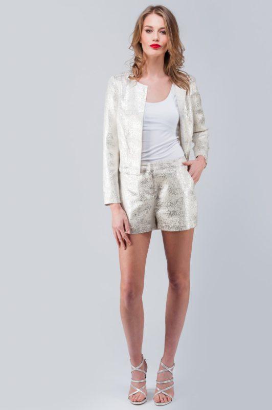White Metallic Long Sleeve Jacket