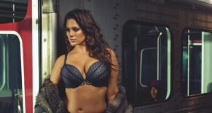 ashley graham rides subway in sexy lingerie