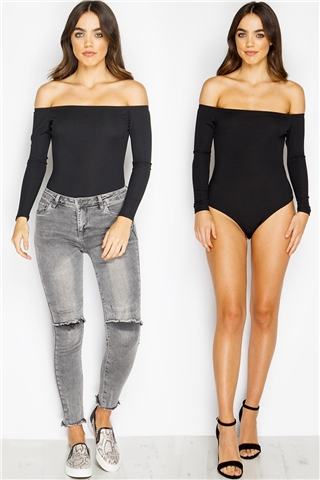Arden Black Ribbed Bardot Bodysuit