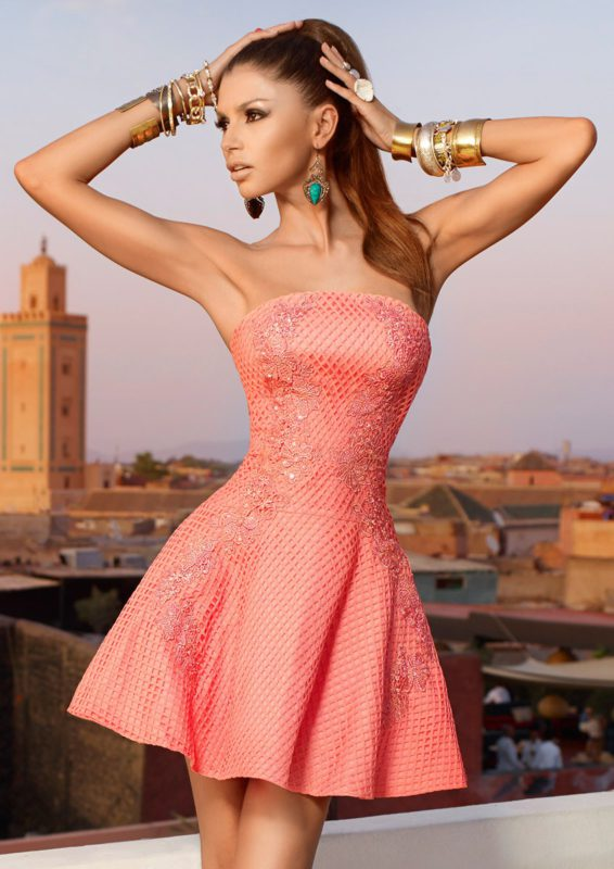 BEVERLY - Coral Strapless Lace Dress
