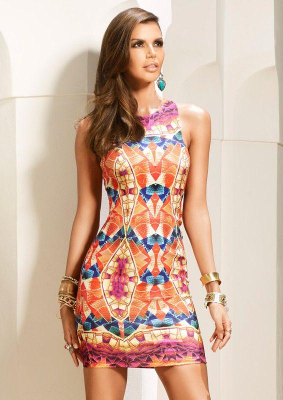 BRONWYN - Ethnic Print Fitted Bodycon Dress