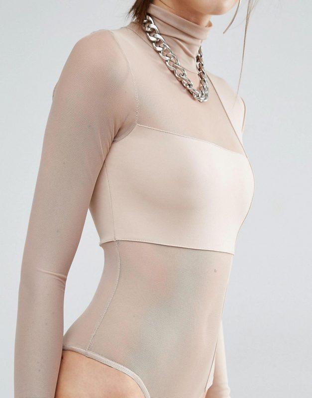 Bones High Neck Long Sleeve Body With Mesh Inserts