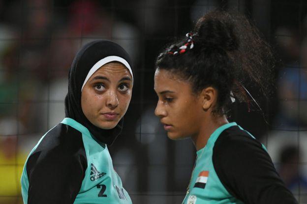 Doaa Elghobashy and Nada Meawad wearing hijab