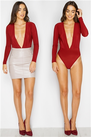Eleena Wine Long Sleeve V Front Bodysuit