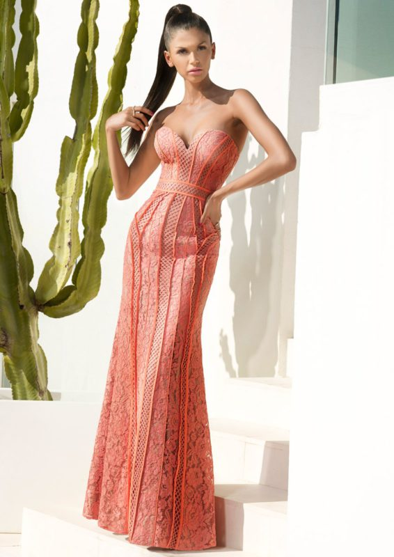 GEORGETTE - Coral strapless maxi dress with piping detail