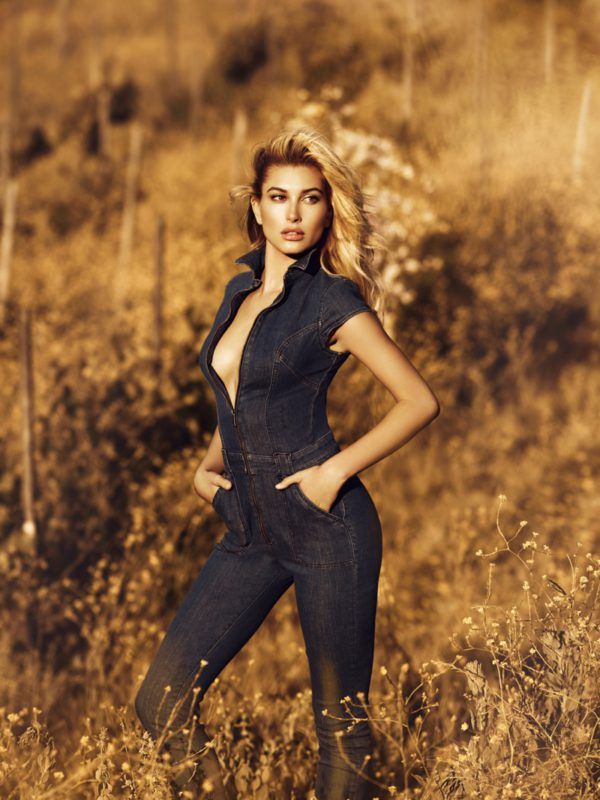 Guess fall 2016 campaign- Hailey Baldwin flaunts her curves in denim one-piece