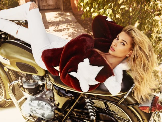 Hailey Baldwin poses for Guess Jeans' fall-winter 2016 campaign