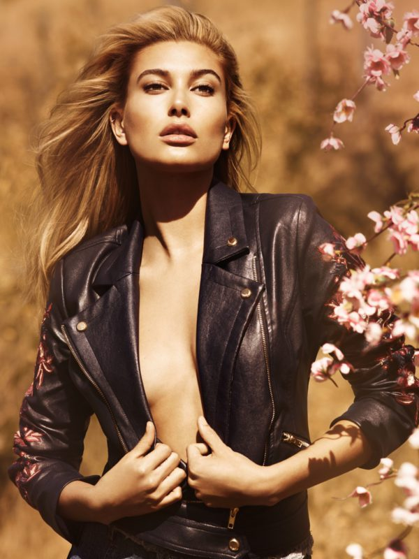 Hailey Baldwin wears leather jacket in Guess' fall 2016 campaign