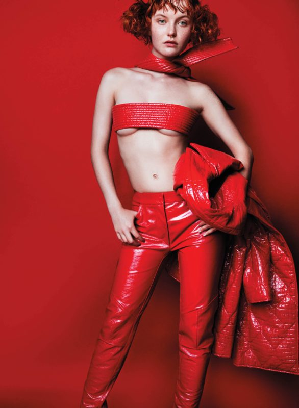 Kacy Hill is red-hot in Kenzo jacket and belt with Louis Vuitton pants