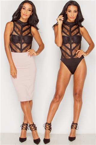 Kara Black Mesh Panel Bodysuit