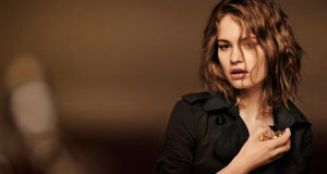 Lily James behind the scenes at My Burberry Black fragrance shoot