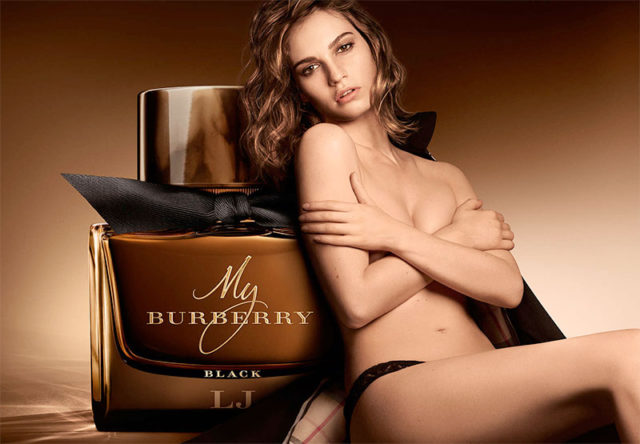 Lily James does a strip tease for My Burberry Black fragrance shoot