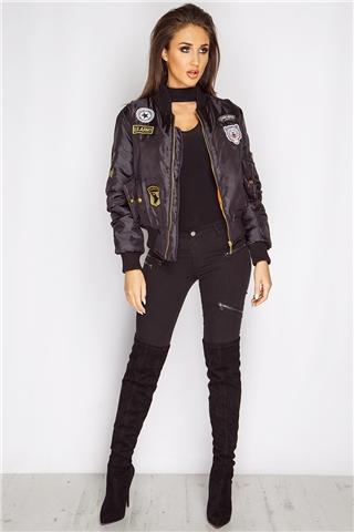 Megan McKenna Black Badged Bomber Jacket