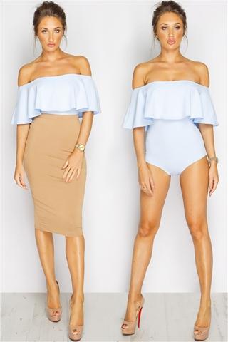 Megan McKenna Powder Blue Bardot Bodysuit