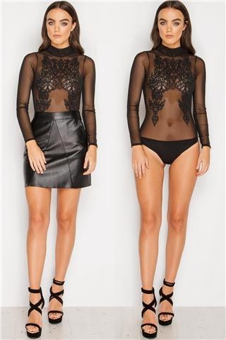 Melissa Black Beaded Sheer Bodysuit