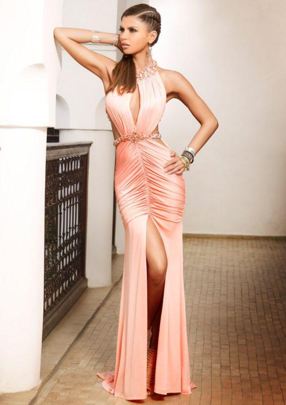 NICOLA - Coral Jersey Drape Maxi Dress