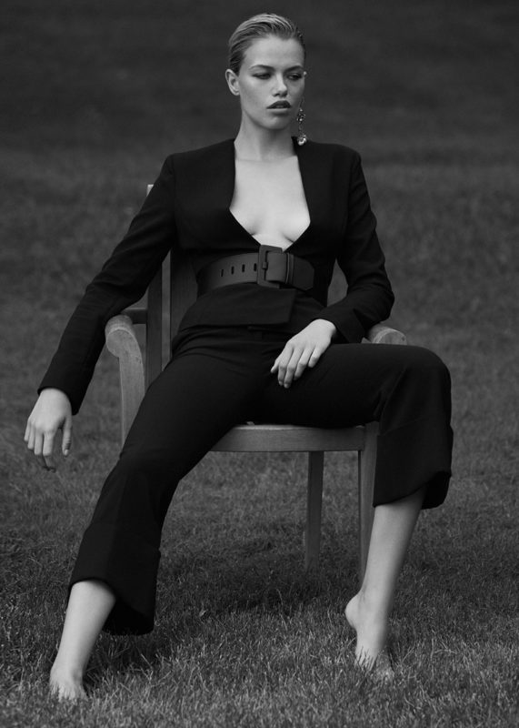 Stella McCartney Buckled Blazer, Stella McCartney Cropped Trousers, Maison Margiela Leather Belt and Alexander McQueen Leaf Charm Earrings