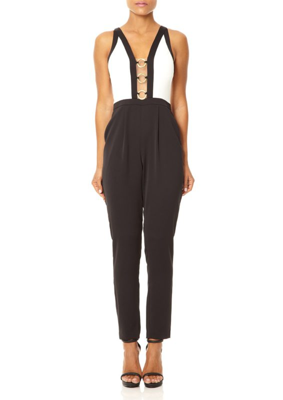 YASMEEN - Ivory and black contrast tailored jumpsuit with plunging neckline