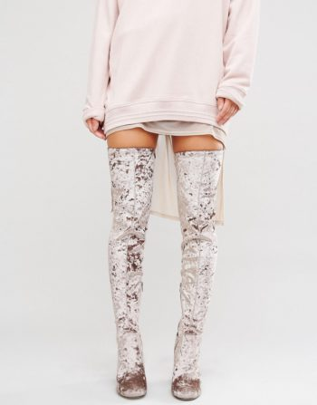 ASOS KATCH UP Velvet Heeled Over The Knee Boots