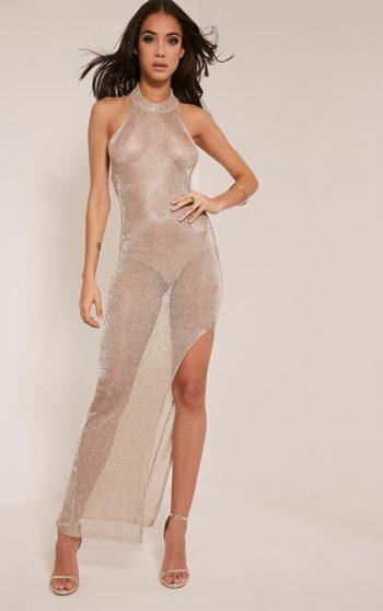 Dido Sheer Gold Halterneck Metallic Knitted Maxi Dress