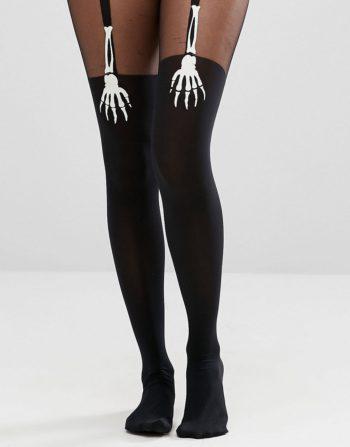 Halloween Glow In the Dark Skeleton Hand Suspender Tights