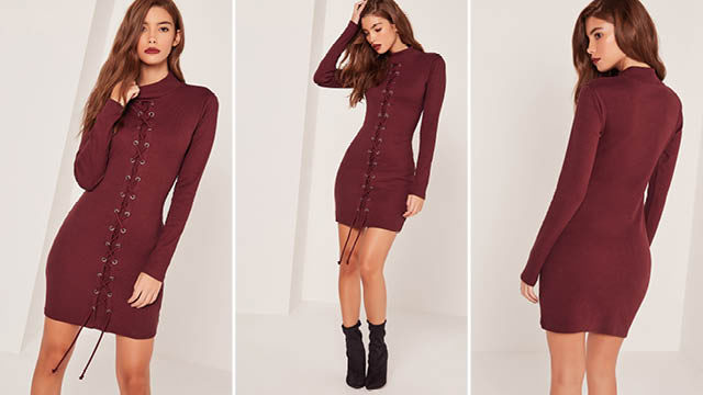 Lace up front round neck bodycon dress burgundy