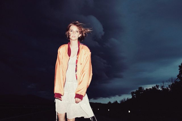 Maya Hawke wears bomber jacket and dress from AllSaints