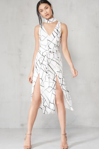 Lavish Alice Monochrome Cracked Abstract Print Keyhole Tie Belt Double Split Midi Dress