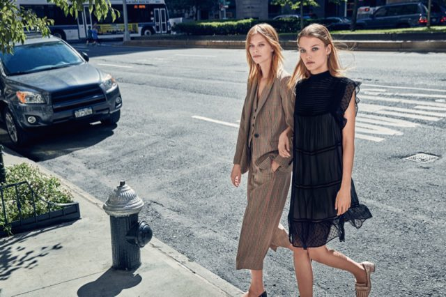 Office-ready dresses and jackets are spotlighted in Mango's fall campaign