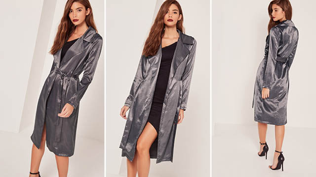 Satin duster coat grey