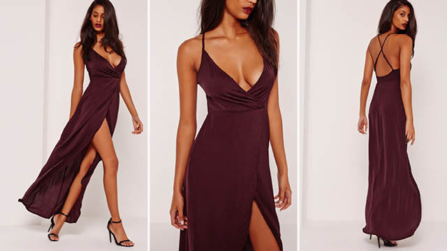 Silky strappy maxi dress purple