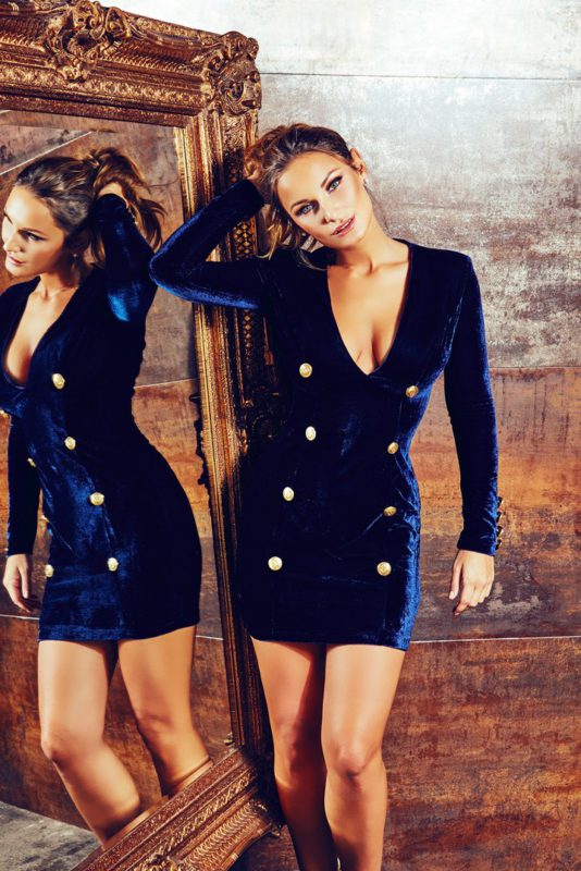 Rare X Sam Faiers wears Navy Velvet Plunge Military Dress