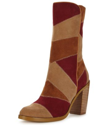 V by Very Sussex Patchwork High Ankle Boots - Brown