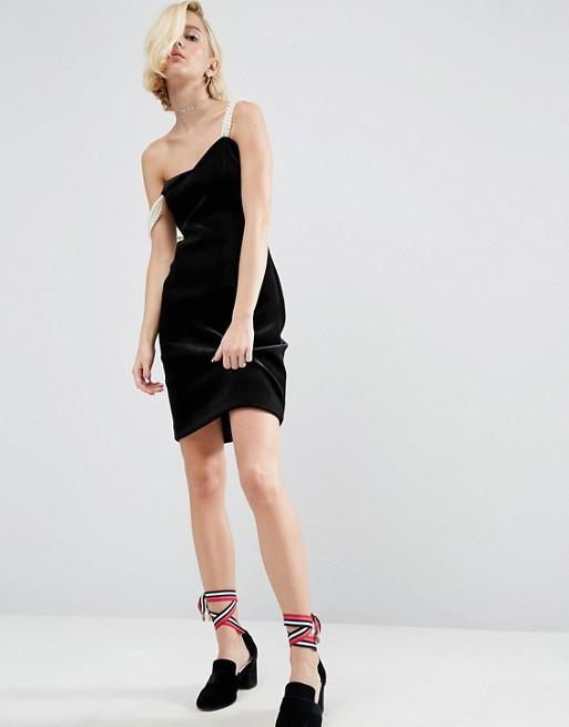 WAH LONDON x ASOS Velvet Dress With Pearl Straps