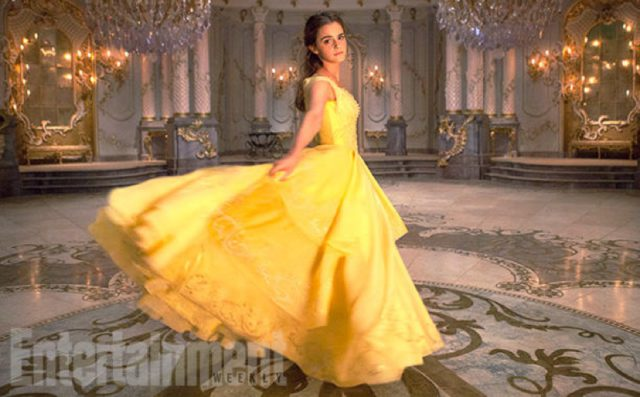 Emma Watson stars as Belle in yellow dress