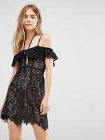For Love and Lemons Rosemary Off Shoulder Black Lace Mini Dress - Black