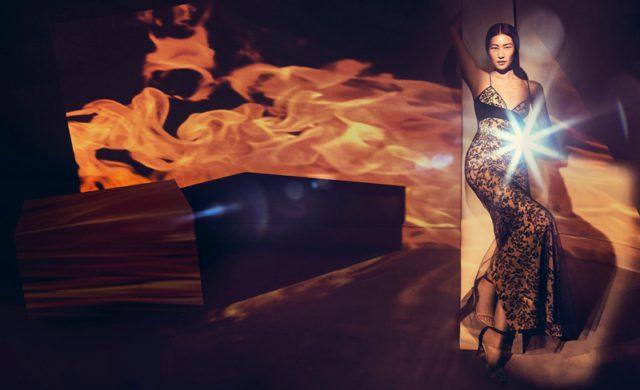 Liu Wen poses in La Perla Autografo silk long dress