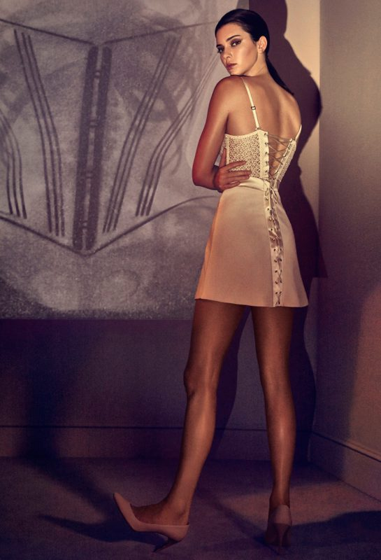 Kendall Jenner poses in La Perla macramè slip dress