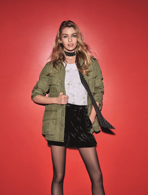 Make like supermodel Stella Maxwell and  rework your favourite casualwear pieces into a party dressing look. Throw a military  jacket over velvet shorts and sheer tights for  an alternative take on eveningwear. Add a  skinny scarf for that folk-rock edge.