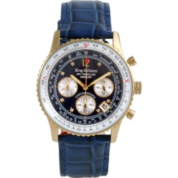 Krug Baümen Air Traveller Diamond Blue Dial Blue Strap 400207DS
