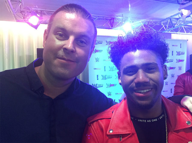 Flavourmag reporter Scott Felstead with '5 After Midnight' band member, Kieran Alleyne