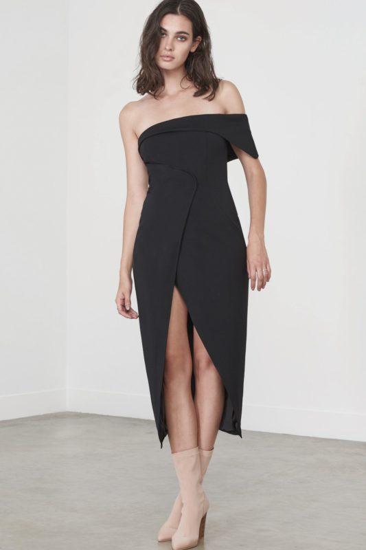 Black Asymmetric Bandeau Wrap Over Midi Dress £68
