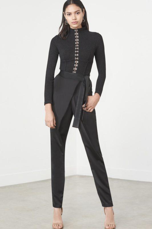 Black Rib Knit High Neck Satin Hook & Eye Detail Bodysuit £48