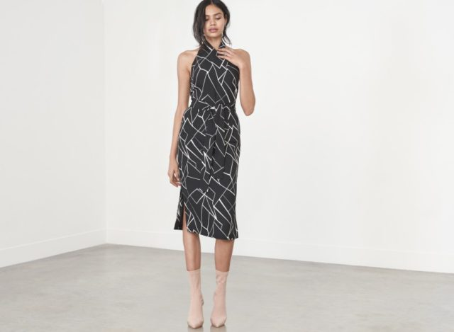 Lavish Alice Black & White Cracked Abstract Print Halterneck Midi Dress £58