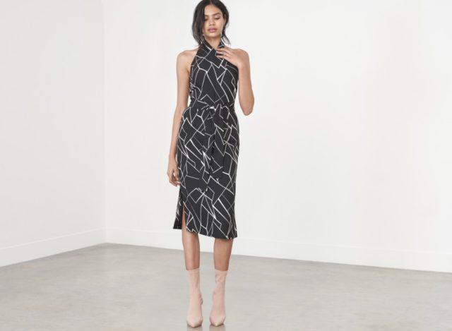 Lavish Alice Black & White Cracked Abstract Print Halterneck Midi Dress £58