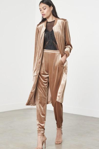 Camel Velvet Formal Joggers £46