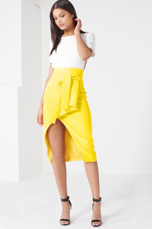 Canary Yellow Tie Front Asymmetric Wrap Midi Skirt