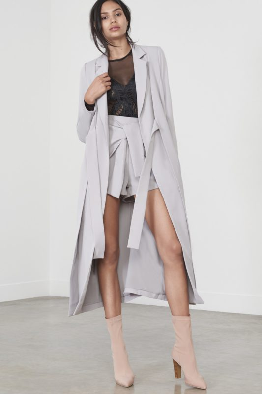 Dove Grey Double Layer Tie Front Duster Jacket £90