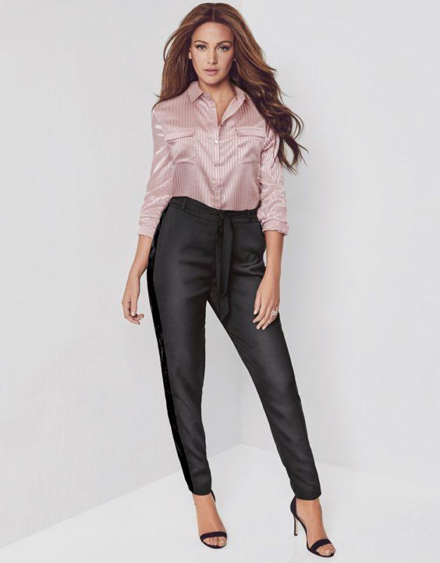 Lipsy Love Michelle Keegan Satin Stripe Shirt