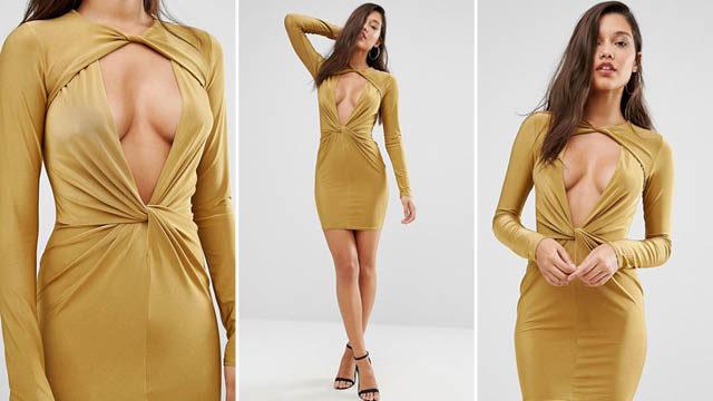 Missguided Twist Front Bodycon Mini Dress via asos
